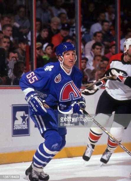 Tim Hunter of the Quebec Nordiques skates on the ice during a preseason game against the Philadelphia Flyers in September 1992 at the Spectrum in...