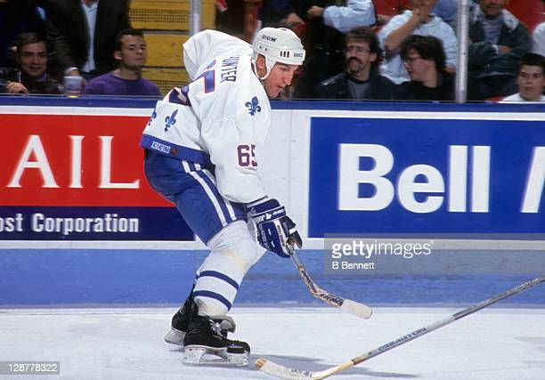 Tim Hunter of the Quebec Nordiques skates on the ice during an NHL game against the Ottawa Senators on October 10 1992 at the Quebec Coliseum in...