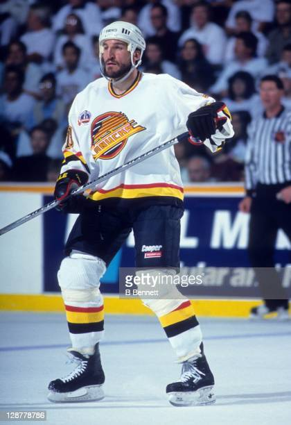 Tim Hunter of the Vancouver Canucks skates on the ice during Game 6 of the 1994 Stanley Cup Finals against the New York Rangers on June 11 1994 at...