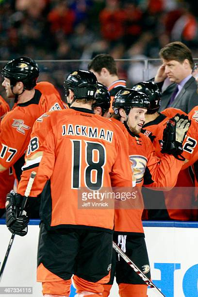 Tim Jackman and Matt Beleskey of the Anaheim Ducks celebrates after scoring in the first period against the Los Angeles Kings in the 2014 Coors Light...
