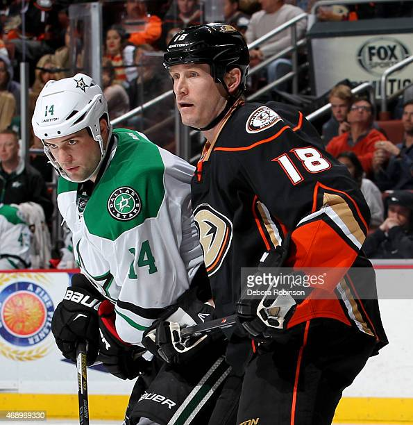 Tim Jackman of the Anaheim Ducks gets into position against Jamie Benn of the Dallas Stars on April 8 2015 at Honda Center in Anaheim California