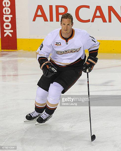 Tim Jackman of the Anaheim Ducks in action against the Calgary Flames during an NHL game at Scotiabank Saddledome on March 12 2014 in Calgary Alberta...