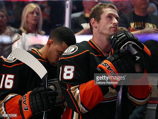 Tim Jackman of the Anaheim Ducks looks on before the game against the Columbus Blue Jackets on October 24 2014 at Honda Center in Anaheim California