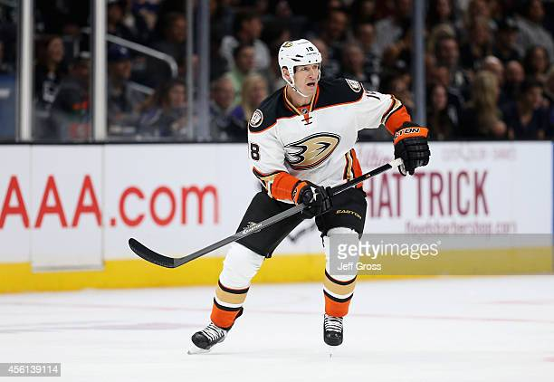 Tim Jackman of the Anaheim Ducks skates against the Los Angeles Kings at Staples Center on September 25 2014 in Los Angeles California