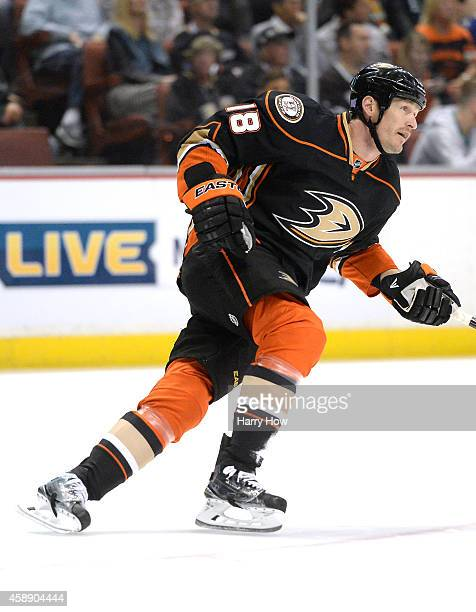 Tim Jackman of the Anaheim Ducks skates back to play during the game against the Vancouver Canucks at Honda Center on November 9 2014 in Anaheim...