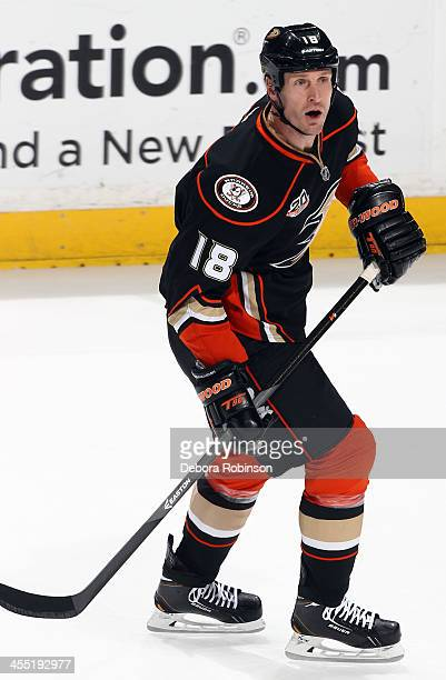 Tim Jackman of the Anaheim Ducks skates during the game against the Los Angeles Kings on December 3 2013 at Honda Center in Anaheim California