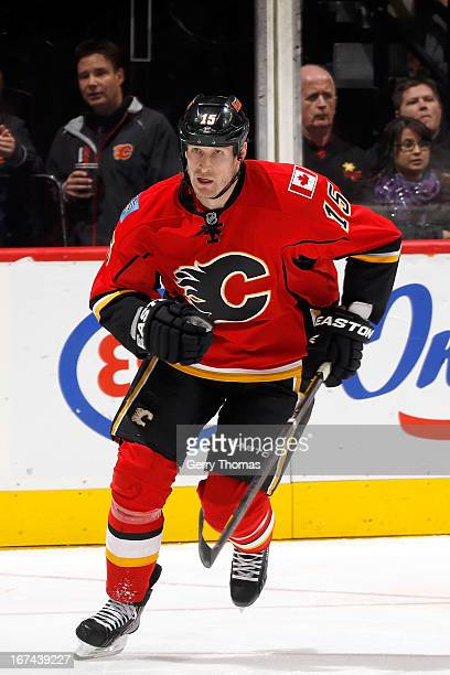 Tim Jackman of the Calgary Flames skates against the Anaheim Ducks on April 19 2013 at the Scotiabank Saddledome in Calgary Alberta Canada The Flames...