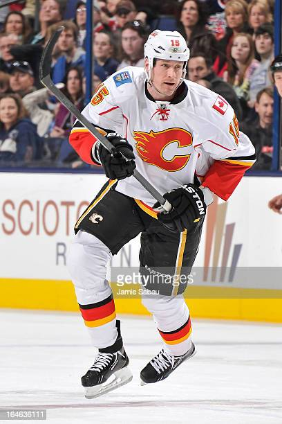 Tim Jackman of the Calgary Flames skates against the Columbus Blue Jackets on March 22 2013 at Nationwide Arena in Columbus Ohio
