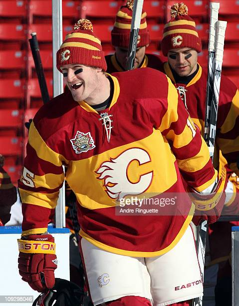 Tim Jackman of the Calgary Flames skates out for the practice session the day before the 2011 NHL Heritage Classic at McMahon Stadium on February 19...