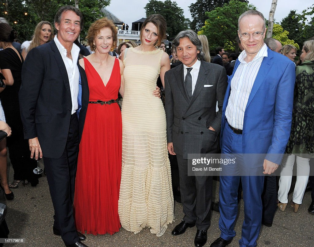 (L to R) Tim Jefferies, Julia Peyton-Jones, Mischa Barton, Leon Max and Hans-Ulrich Obrist attend The Serpentine Gallery Summer Party sponsored by Leon Max at The Serpentine Gallery on June 26, 2012 in London, England.