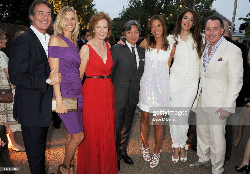 (L to R) Tim Jefferies, Malin Jefferies, Julia Peyton-Jones, Leon Max, Heather Kerzner, Yasmin Ghandehari and David Furnish attend The Serpentine Gallery Summer Party sponsored by Leon Max at The Serpentine Gallery on June 26, 2012 in London, England.