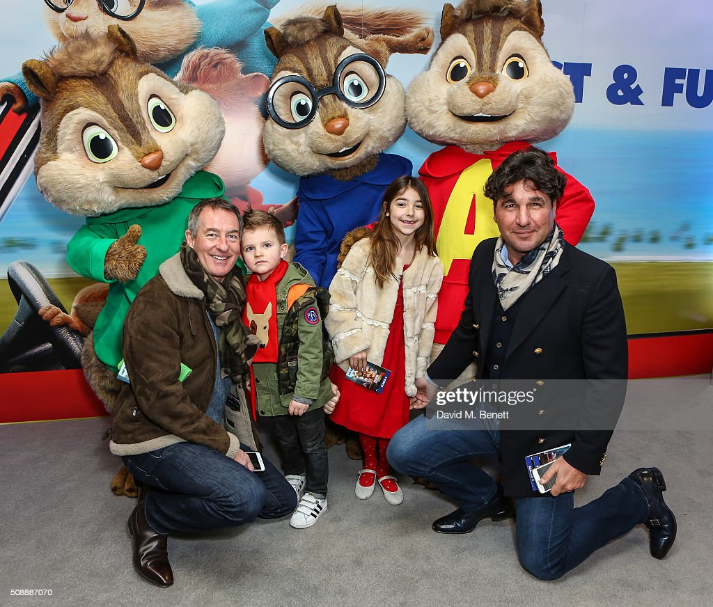 Tim Jeffries and <a gi-track='captionPersonalityLinkClicked' href=/galleries/search?phrase=Giorgio+Veroni&family=editorial&specificpeople=570237 ng-click='$event.stopPropagation()'>Giorgio Veroni</a> with their children attend a Gala Screening of 'Alvin & The Chipmunks: The Road Chip' at Vue West End on February 7, 2016 in London, England.