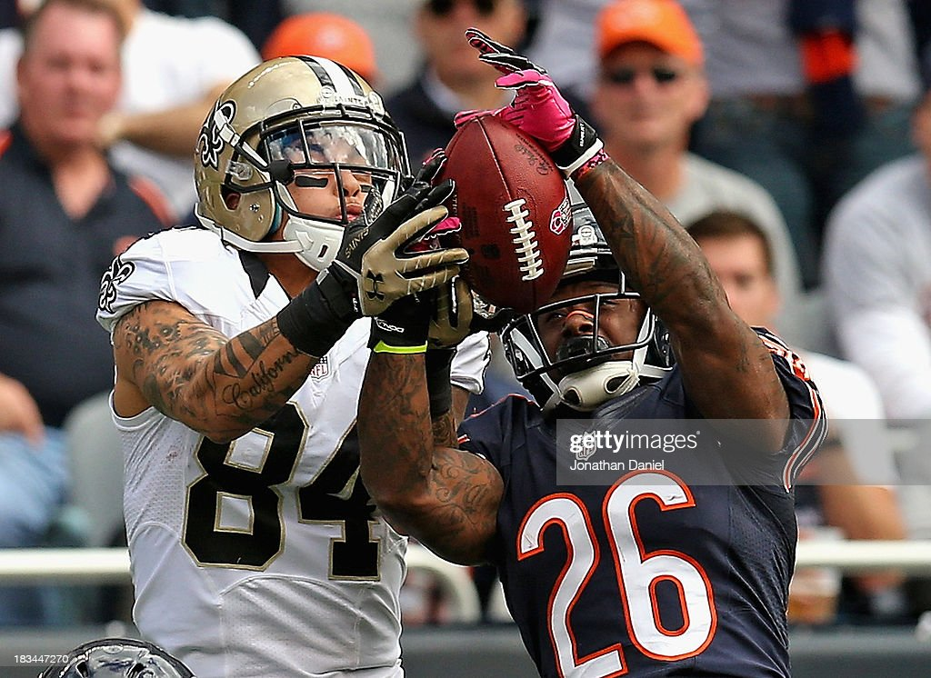 Tim Jennings #26 of the Chicago Bears breaks up a pass intended for Kenny Stills #84 of the New Orleans Saints at Soldier Field on October 6, 2013 in Chicago, Illinois.