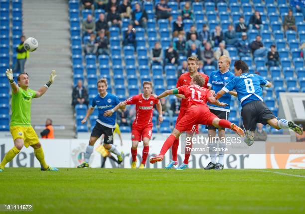 Tim Jerat of Bielefeld scores his teams first goal during the Second Bundesliga match between Arminia Bielefeld and SV Sandhausen at the Schueco...