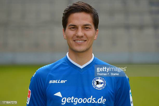 Tim Jerat poses during the Second Bundesliga team presentation of Arminia Bielefeld at Schueco Arena on June 27 2013 in Bielefeld Germany