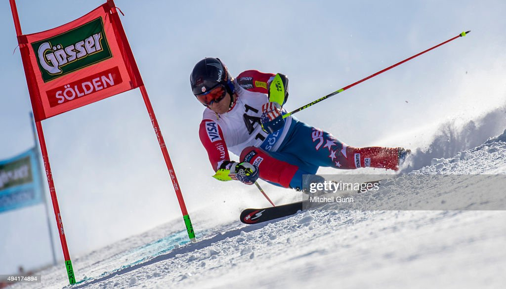 Tim Jitloff of The USA during the Audi FIS Ski World Cup men's giant slalom race on the Rettenbach Glacier on 25 October 2015 in Soelden Austria