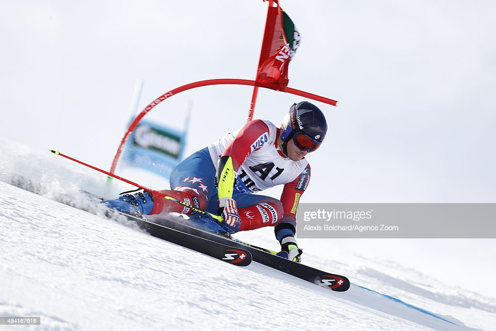 Tim Jitloff of the USA in action during the Audi FIS Alpine Ski World Cup Men's Giant Slalom on October 25 2015 in Soelden Austria