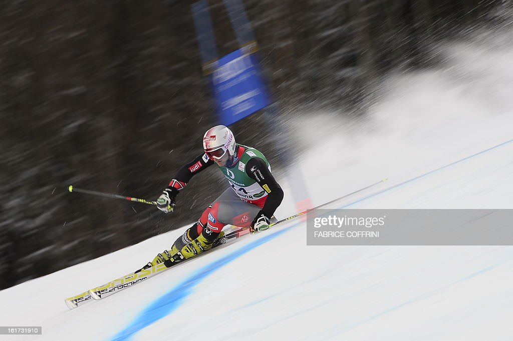 US Tim Jitloff skis during the first run of the men's Giant slalom at the 2013 Ski World Championships in Schladming, Austria on February 15, 2013.