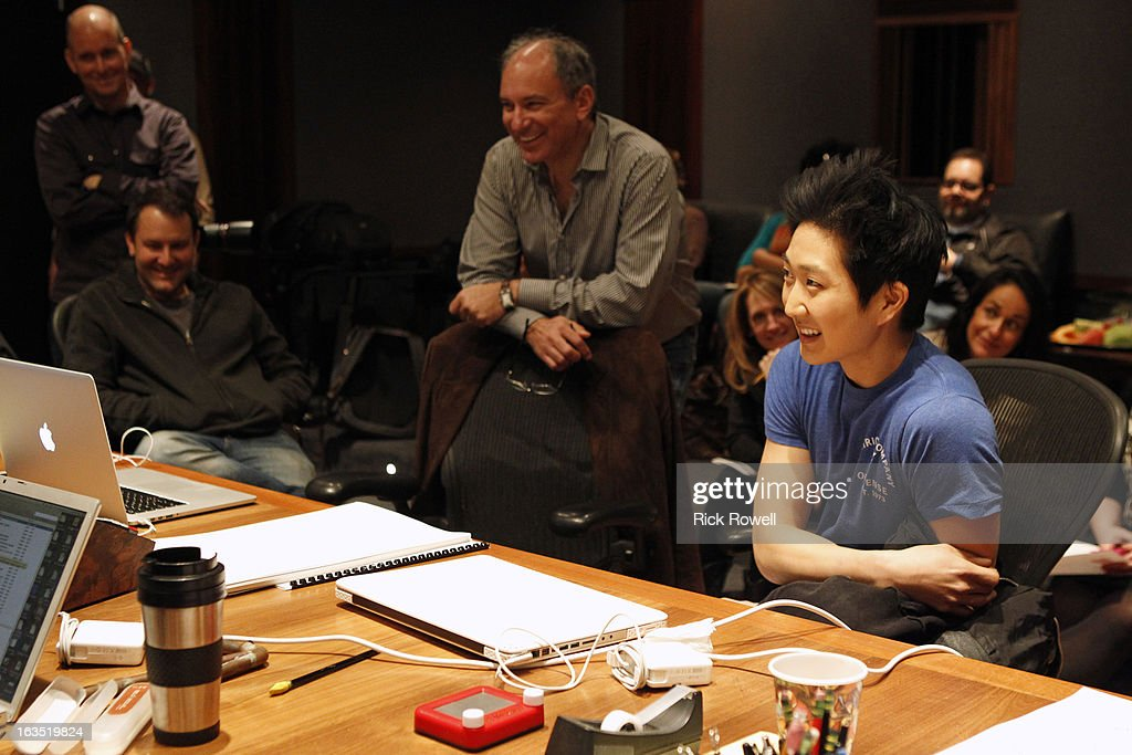 THE NEIGHBORS - Tim Jo, Toks Olagundoye and Simon Templeman record with Academy Award-winning composer Alan Menken for two songs to be used in the episode entitled, 'Sing Like a Larry Bird' on 'The Neighbors,' WEDNESDAY, MARCH 13 (8:30-9:00 p.m., ET) on ABC. TIM JO