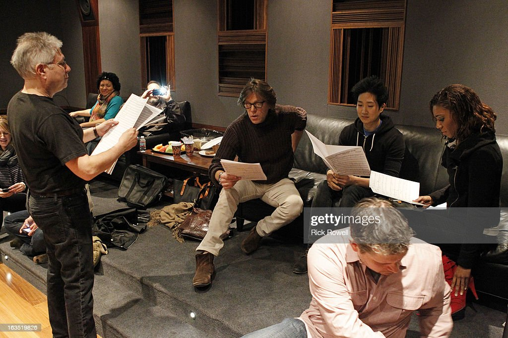 THE NEIGHBORS - Tim Jo, Toks Olagundoye and Simon Templeman record with Academy Award-winning composer Alan Menken for two songs to be used in the episode entitled, 'Sing Like a Larry Bird' on 'The Neighbors,' WEDNESDAY, MARCH 13 (8:30-9:00 p.m., ET) on ABC. (Photo by Rick Rowell/ABC via Getty Images) ALAN
