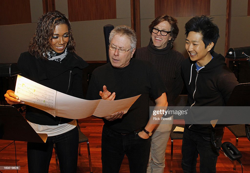 THE NEIGHBORS - Tim Jo, Toks Olagundoye and Simon Templeman record with Academy Award-winning composer Alan Menken for two songs to be used in the episode entitled, 'Sing Like a Larry Bird' on 'The Neighbors,' WEDNESDAY, MARCH 13 (8:30-9:00 p.m., ET) on ABC. (Photo by Rick Rowell/ABC via Getty Images) TOKS