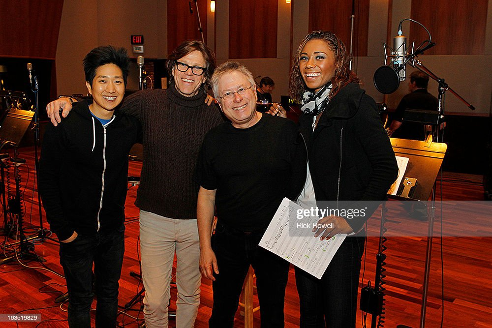 THE NEIGHBORS - Tim Jo, Toks Olagundoye and Simon Templeman record with Academy Award-winning composer Alan Menken for two songs to be used in the episode entitled, 'Sing Like a Larry Bird' on 'The Neighbors,' WEDNESDAY, MARCH 13 (8:30-9:00 p.m., ET) on ABC. (Photo by Rick Rowell/ABC via Getty Images) TIM