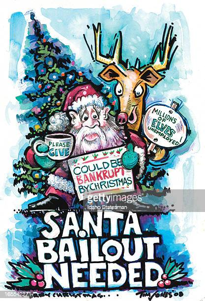 Tim Jones color illustration of Santa Claus tin cup in hand needing a bailout to avert bankruptcy