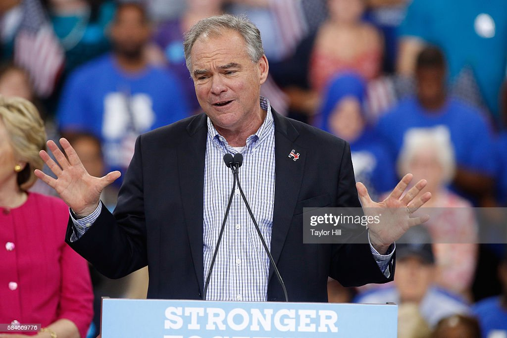 Tim Kaine attends the 2016 general election kickoff rally for Hillary for America at McGonigle Hall at Temple University on July 29 2016 in...