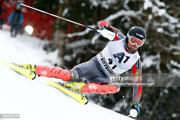 Tim Kelley of the USA competes during the Audi FIS Alpine Ski World Cup Men's Slalom on January 24 2016 in Kitzbuehel Austria