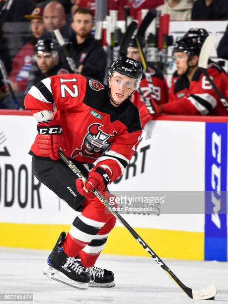 Tim Kennedy of the Binghamton Devils skates the puck against the Laval Rocket during the AHL game at Place Bell on October 13 2017 in Laval Quebec...