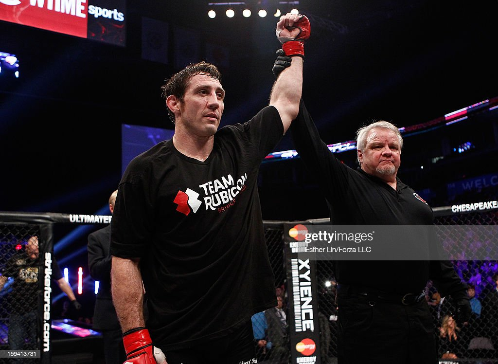 Tim Kennedy reacts after defeating Trevor Smith in their middleweight bout during the Strikeforce event on January 12, 2013 at Chesapeake Energy Arena in Oklahoma City, Oklahoma.