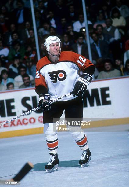 Tim Kerr of the Philadelphia Flyers skates on the ice during an NHL game in April 1987 at the Spectrum in Philadelphia Pennsylvania
