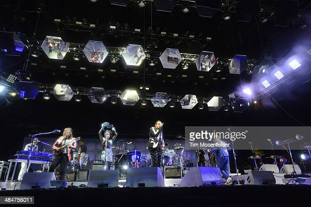 Tim Kingsbury Regine Chassagne Win Butler and Richard Reed Parry of Arcade Fire perform as part of the Coachella Valley Music and Arts Festival at...