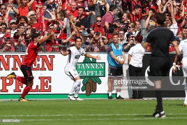 Tim Kleindienst of FC Freiburg celebrates a goal which was later disallowed by refeere Manuel Graefe following interference by the video referee...