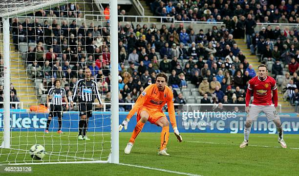 Tim Krul of Newcastle is powerless to stop Ashley Young's late strike for Manchester United scoring the only goal during the Barclays Premier League...