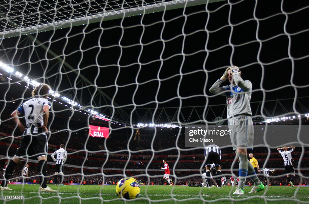 Tim Krul of Newcastle United reacts after Theo Walcott of Arsenal scores their fourth goal during the Barclays Premier League match between Arsenal and Newcastle United at the Emirates Stadium on December 29, 2012 in London, England.