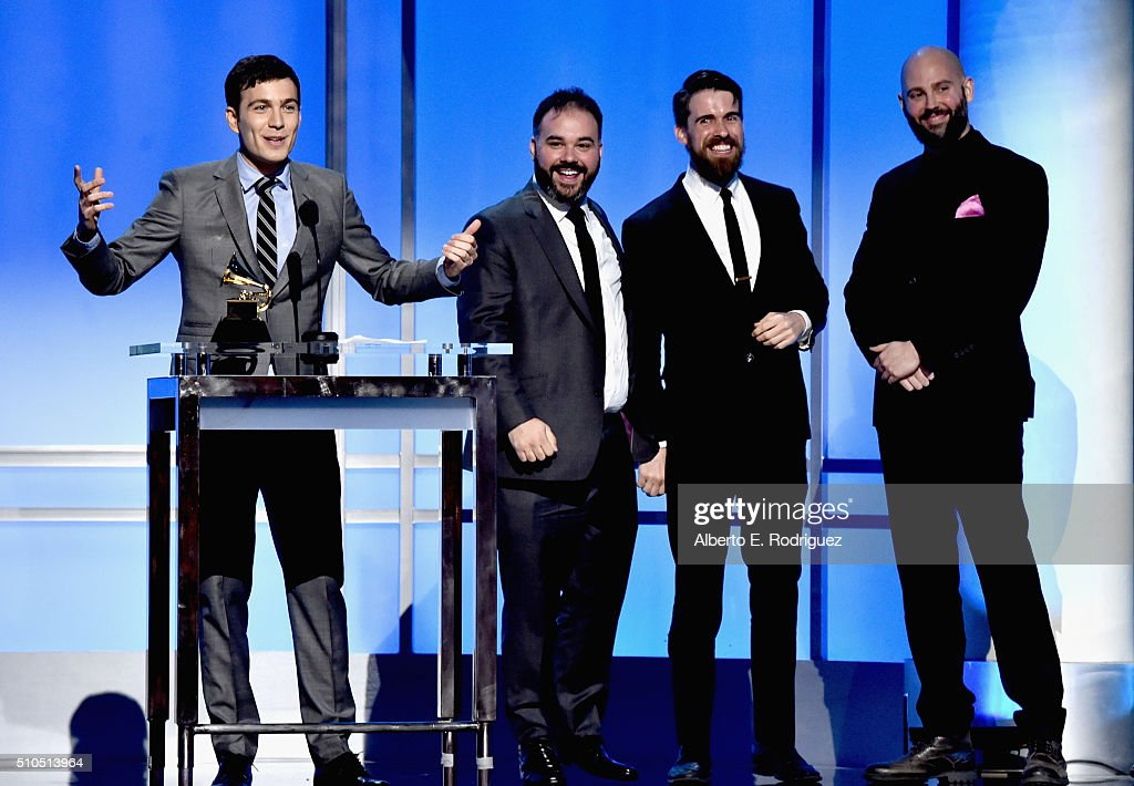 Tim Kubart (L) and members of the band Tim And The Space Cadets accept the award for the Best Children's Album, 'Home' onstage during the GRAMMY Pre-Telecast at The 58th GRAMMY Awards at Microsoft Theater on February 15, 2016 in Los Angeles, California.