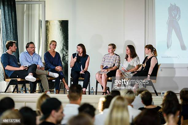 Tim Labenda Stefan Wenzel Jutta Ohms Margit Kling Edda Mann Silvia Kadolsky and Susan Stone attend the 'Round Table brands4friends X Tim Labenda' on...