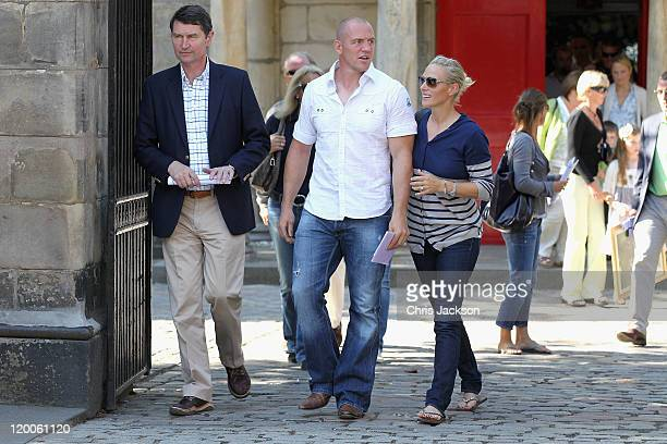Tim Laurence father of the bride Mike Tindall and his fiancee Zara Phillips leave Canongate Kirk after a wedding rehearsal on July 29 2011 in...