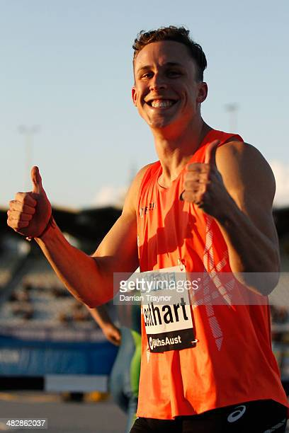 Tim Leathart celebrates winning the 100m final during the 92nd Australian Athletics Championships at Olympic Park on April 5 2014 in Melbourne...