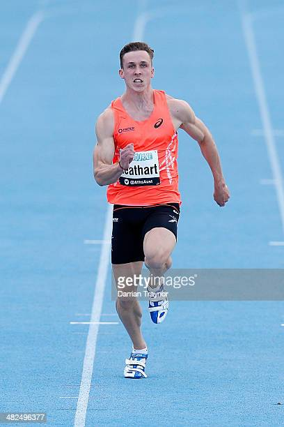 Tim Leathart of NSW competes in the 100metres during the 92nd Australian Athletics Championships at Olympic Park on April 4 2014 in Melbourne...