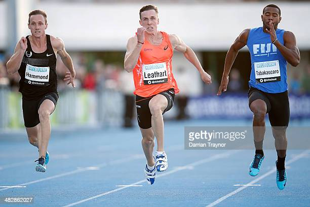 Tim Leathart wins the 100m final during the 92nd Australian Athletics Championships at Olympic Park on April 5 2014 in Melbourne Australia