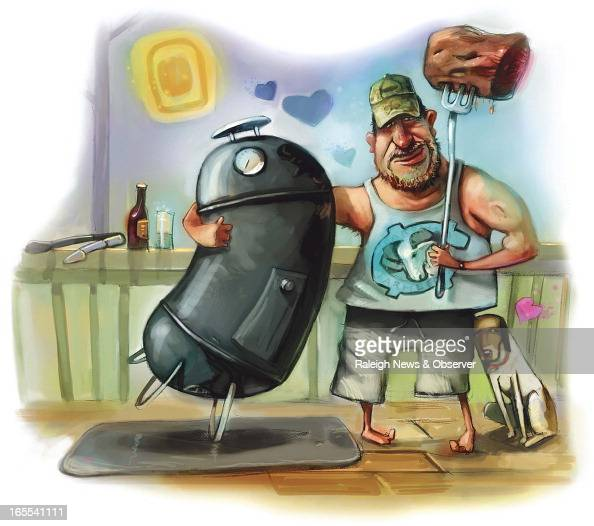 Tim Lee color illustration of a man his meat his dog and his meatsmoker sharing a moment on the porch The News Observer /MCT via Getty Images