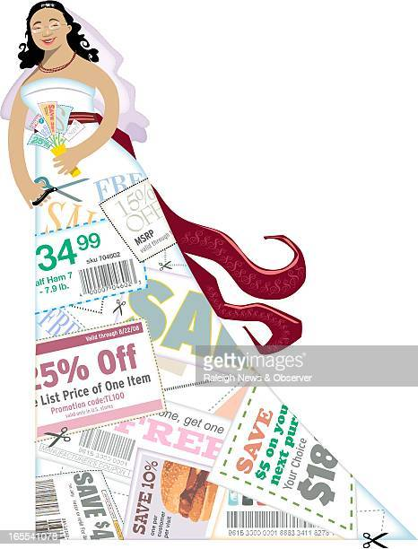 Tim Lee color illustration of bride holding bouquet of coupons and clipping coupons from the fabric of her wedding gown Portrait of columnist and...
