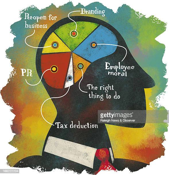 Tim Lee color illustration of businessman's brain divided into pie chart of all the right reasons to give corporate donations PR morale tax...