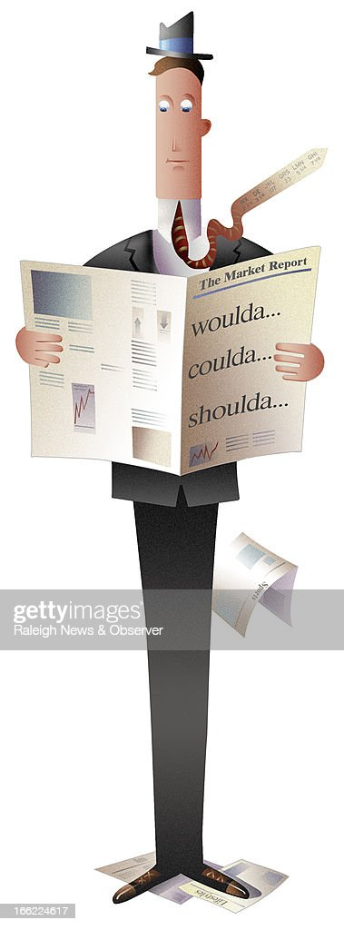 Tim Lee illustration of Investor reading stock market publication The News Observer /MCT via Getty Images