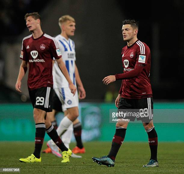 Tim Leibold of 1FC Nurnberg looks dejected after a draw in the 2 Bundesliga match between 1 FC Nuernberg and Karlsruher SC at GrundigStadion on...