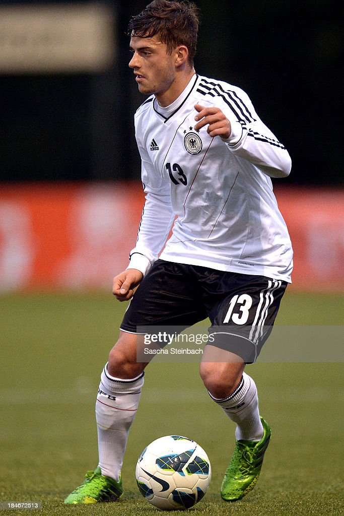 Tim Leibold of Germany runs with the ball during the U20 juniors tournament match between the Czech Republic and Germany on October 14, 2013 in Gemert, Netherlands.