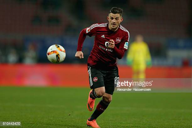 Tim Leibold of Nuernberg runs with the ball during the Second Bundesliga match between 1 FC Nuernberg and VfL Bochum at GrundigStadion on February 15...