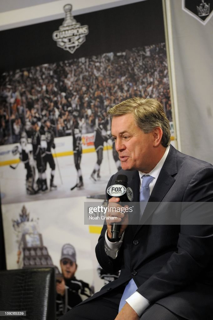 <a gi-track='captionPersonalityLinkClicked' href=/galleries/search?phrase=Tim+Leiweke&family=editorial&specificpeople=676996 ng-click='$event.stopPropagation()'>Tim Leiweke</a> speaks as the Los Angeles Kings kick-off the club's 2012-13 Regular Season with a press conference featuring Kings Governor <a gi-track='captionPersonalityLinkClicked' href=/galleries/search?phrase=Tim+Leiweke&family=editorial&specificpeople=676996 ng-click='$event.stopPropagation()'>Tim Leiweke</a>, President/General Manager Dean Lombardi , President, Business Operations Luc Robitaille and Head Coach Darryl Sutter at Staples Center on January 10, 2013 in Los Angeles, California.